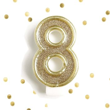 Light Gold Glitter Birthday Candle Number 8 Gold & White Anniversary Cake Topper Eight