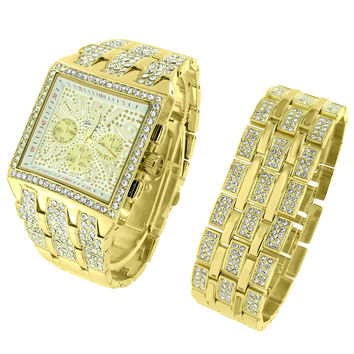 Square Face Hip Hop 14k Gold Tone Watch Iced Out Rapper Fashion Free Bracelet