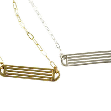 Straightaway Necklace, Pendant Necklace, Thin Chain Necklace, Line Necklace, Bar Necklace