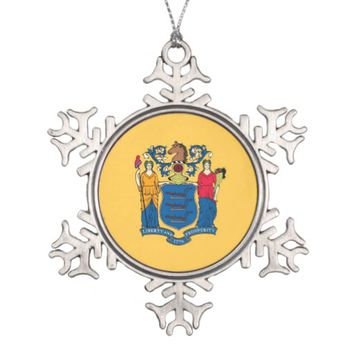 Snowflake Ornament with New Jersey Flag