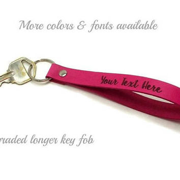 Upgraded Longer Key Fob, Personalized Key Fob, Leather Key Fob, Custom Leather Key Chain, Gifts Under 15, Realtor Gifts, Corporate Gifts
