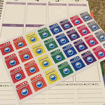 FREE SHIPPING C12 Laundry day washing machine stickers for Erin Condren Life Planner/Plum Paper Planner - set of 32