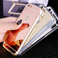 Mirror case Electroplating Chrome Ultrathin Soft TPU Phone Case Cover For Samsung Galaxy S6 iphone 5 6 6plus