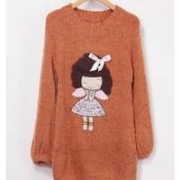 Orange Women Knitting Sweater One Size YIF11644o from efoxcity