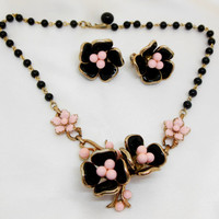 Trifari Vintage Glass Necklace and Earring Set Black Pink