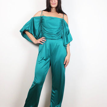 Vintage 70s Jumpsuit Teal Green Ruched Draped Off Shoulder Disco Puff Sleeve Balloon Pants 1970s Catsuit Romper Pantsuit One Piece M Medium