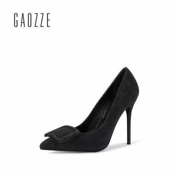 gaozze buckle Women pumps shoessuede leather pointed toe Elegant high heel Women black formalDress shoes