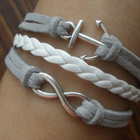 Infinite charm bracelet: leather woven bracelets bracelets, hope the anchor bracelet, karma bracelet