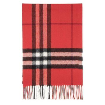 ESBON Burberry Unisex Classic Check Cashmere Scarf Red