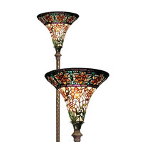 Tiffany Style Stained Glass Yellow Star Torchiere Floor Lamp 1845+BB75B