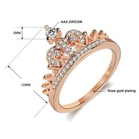 Women's Crown Tiara Rings Exquisite 18K Rose Gold Plated Princess Tiny CZ Diamond Accented Promise Rings for Her Size 6