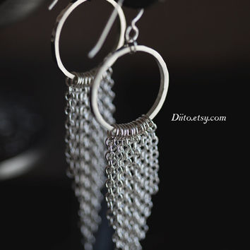 Sterling Silver, Hammered Dangle Earrings, Chain Earrings, Hoop Earrings, Sterling Silver jewelry, Geometric Jewelry, Ready to Ship!