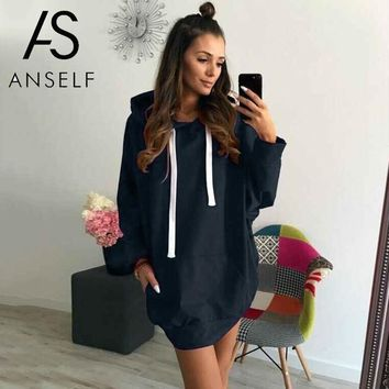 Women tunics Autumn Hoodies Sweatshirts Hooded Long Sleeve Pockets Loose Plus Size Tops female Pullover Dark Blue/Dark Green/Red
