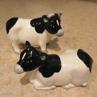 Vintage Otagiri Holstein Black and White Cow Salt and Pepper Shakers