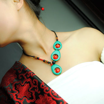 Unique Peacock-feather Shaped Drop Turquoise Red Coral Distinctive Asymmetric Necklace Ethnic