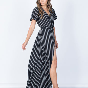 Bold Striped Maxi Romper