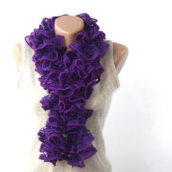 SALE Purple ruffle scarf - ruffled frilly neckwarmer - gift under 25 for women - gifts for her spring accessories