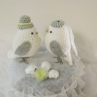 bride and groom wedding love birds  cake topper,