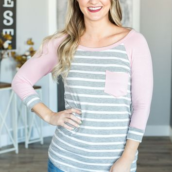 Spring Ahead 3/4 Sleeve Striped Top- 2 Options