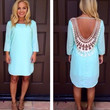 Long Sleeve Backless with Crochet Lace Patchwork Tunic Mini Dress