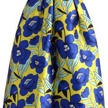 Flower Picking Printed Midi Skirt
