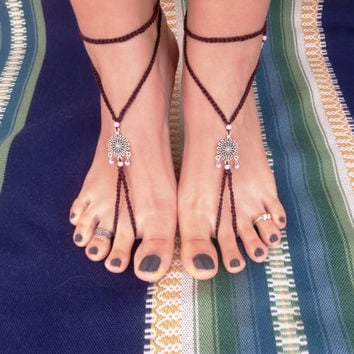Barefoot sandals, brown with silver centerpiece and pink details