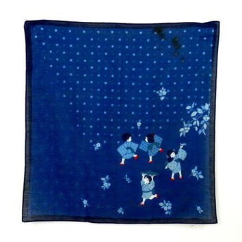 Vintage Handkerchief or Bandana Style Scarf Printed with Japanese Children