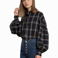 BLACK PLAID BALLOON SLEEVE SHIRT