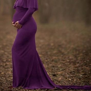 Purple Ruffle Off Shoulder Long Sleeve Elegant Maternity Maxi Dress