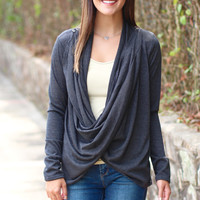 Cowl Neck / Cardigan Sweater {Charcoal}