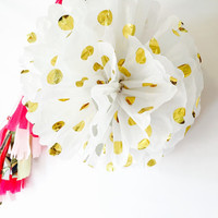 Tissue paper Pom pom, birthday pom pom, baby shower pom pom, gold pom, pom pom, white and gold pom pom, tissuse paper pom,wedding decoration