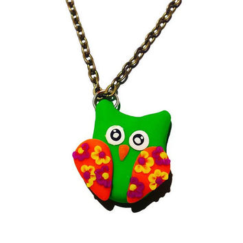 Green Owl Pendant Clay Owl Necklace Polymer Clay Owl Pendant Floral Owl Charm Mini Owl Necklace Spring Jewelry Owl Clay Charm Necklace
