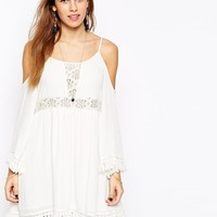 Kiss The Sky Cold Shoulder Dress With Lace Inserts & Tassel Trims