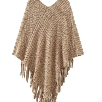 Women's Coffee/Mocha Asymmetrical Hem Knit Sweater Poncho Top with Fringe Detail