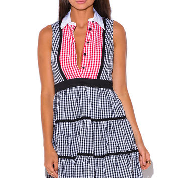Retro Black & White Plaid Gingham Shirt Dress