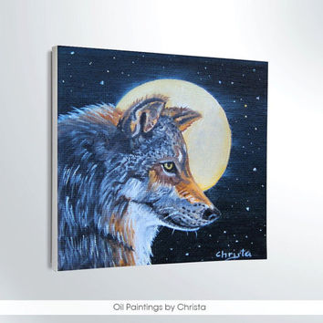 Wolf painting, miniature 4x4i, oil painting, full moon, desk decor, gift ideas, kids room decor, art, canvas, animal painting, moon painting