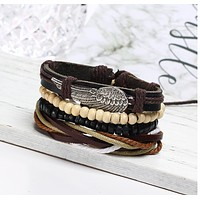 Retro personality leather punk bracelet angel wings jewelry multi - layer multi - root leather bracelet jewelry