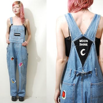245d8e59e3c1 90s Vintage OVERALLS Denim Embroidered Patches Dungarees One Pie. grunge ...