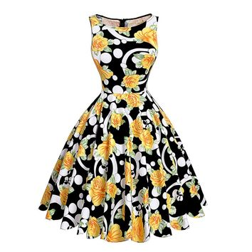 Print floral 50s 60s Vintage dresse Sleeveless new style summer retro dress
