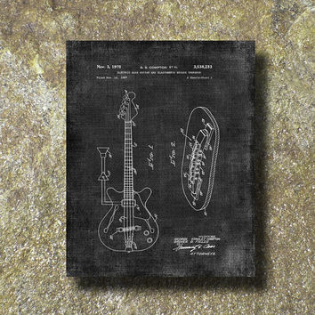 Electric Bass Guitar Patent Print Art Illustration Printable Instant Download Poster UP009gra