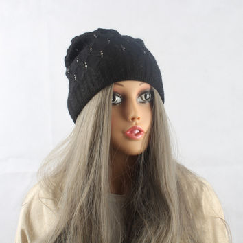 High Quality Winter Beanie Hat Women Knitted Caps With Diamond Adults Girls Wool Hats skullies 2016