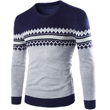 Mens Casual Trendy Patterned Sweater