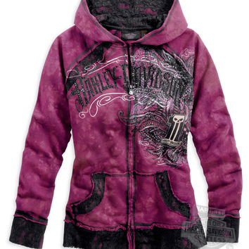 Harley-Davidson® | 96215-14VW | Harley-Davidson® Womens #1 Skull Crystal Wash Lace Accents Full Zip Pink Long Sleeve Hoodie