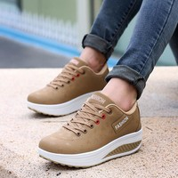 Fashion women sneakers 2018 breathable waterproof wedges platform shoes woman pu leather women casual shoes tenis feminino