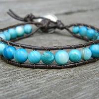 Beaded Single Wrap Bracelet Stackable with Turquoise Beads on Brown Leather