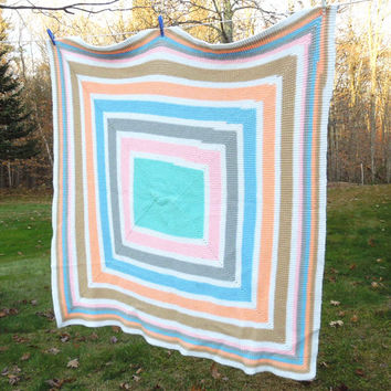 "Colorful vintage crochet afghan throw blanket in pastel striped squares - Vintage crochet baby blanket 47"" x 47"""