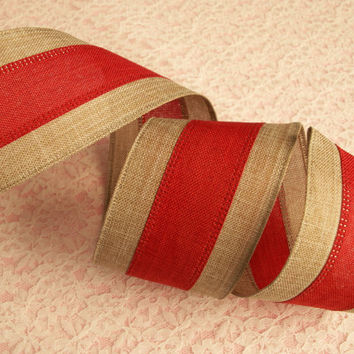 "Christmas Ribbon, Tan and Red Ribbon, Wired Edge, 2 1/2"" Wide, Baskets, Bows, Wreaths, Holiday Home Decor, Ribbon Decorations, 5 YARDS"