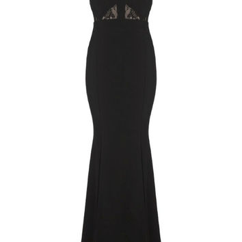 Black Sleeveless Lace Embroidered Maxi Dress with Slits