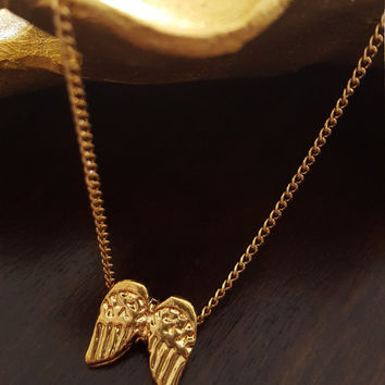 Dainty necklace Gold plated Angel wings pendant small necklace Fine jewelry Gift Jewelry
