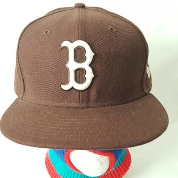 Vtg Boston Red Sox brown Fitted 7 5/8 New Era alternate colorway hat cap summer sale